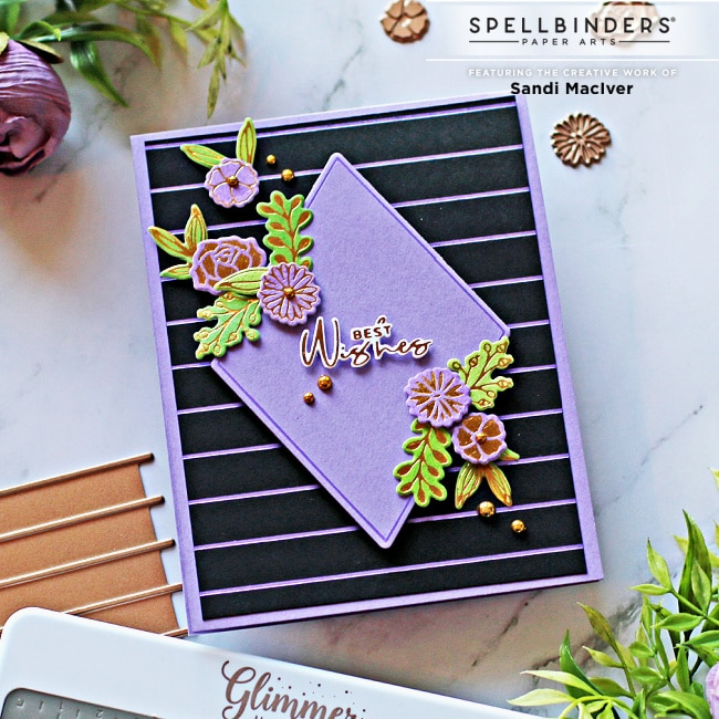 Purple and Black handmade card created with the Spellbinders Diamond Floral Frame Glimmer kit