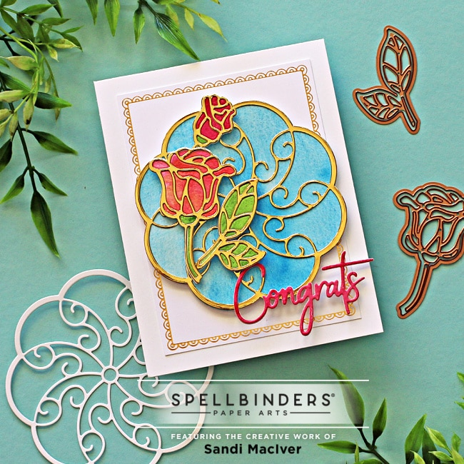a hand made greeting card created with Spellbinders stained Glass Cards Dies Sweet Rondure Dies