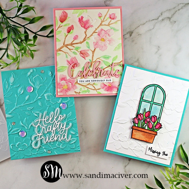 three hand made greeting cards created with the Simon Says Stamp Magnolia Branches Embossing Folder