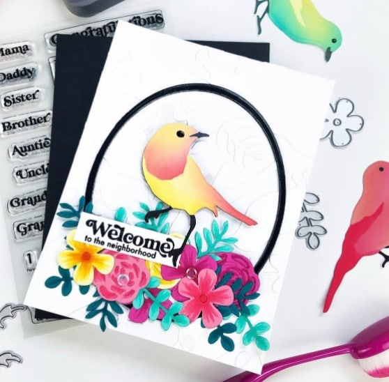 hand made greeting card with new card making and paper crafting products from Erin Lee Designs