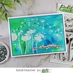 hand made greeting card created with the Picket Fence Studios Dandelion Delight and Shimmer Powder