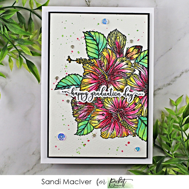 hand made water colored greeting card created with the Tropical Hibiscus Bouquet stamp from Picket Fence Studios