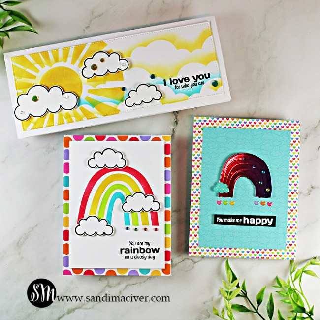 3 hand made cards using the Simon Says Stamp June Card Kit
