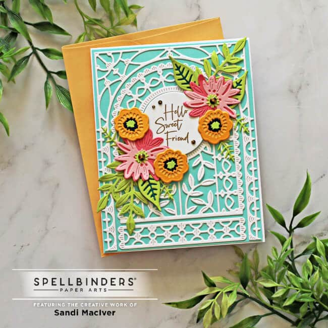 a handmade greeting card created with the May Small Die of the Month Kit from Spellbinders papercrafts