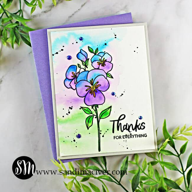 water colored hand made card created with card making products from Ellen Hutson