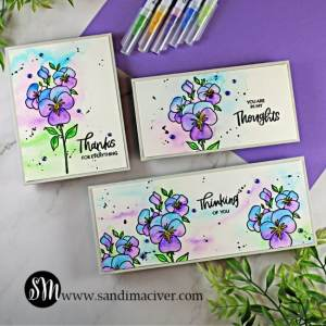 three hand made cards watercolor and stamped with the Pressing Thoughts stamp set from Ellen Hutson