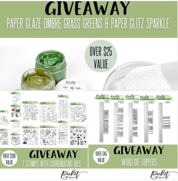 three papercrafting prizes for a giveaway at Picket Fence Studios