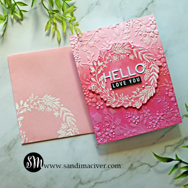 hand made greeting card that has been embossed and distress oxide Ink blended