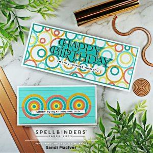 handmade slimline card and mini slimline card created with the Spellbinders June Large Die of the Month kit