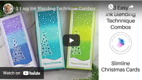 image a video showing three ink blended christmas cards