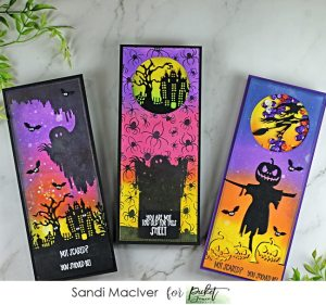 three handmade Halloween slimline cards with products from Picket Fence STudios