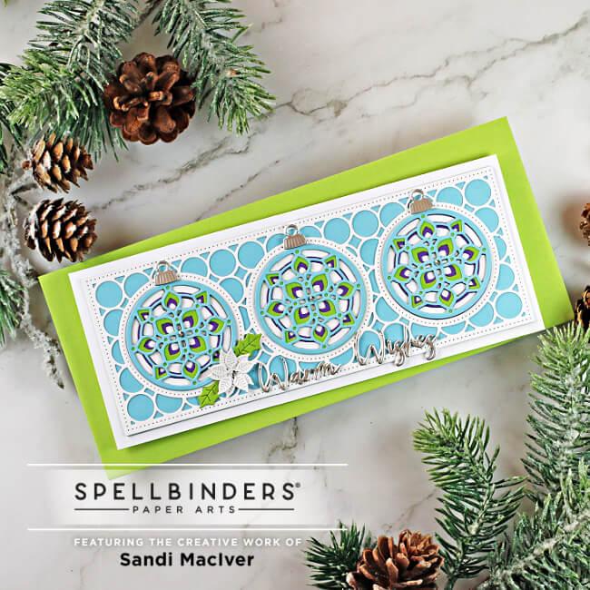 hand made slimline greeting card created with cardmaking dies from Spellbinders
