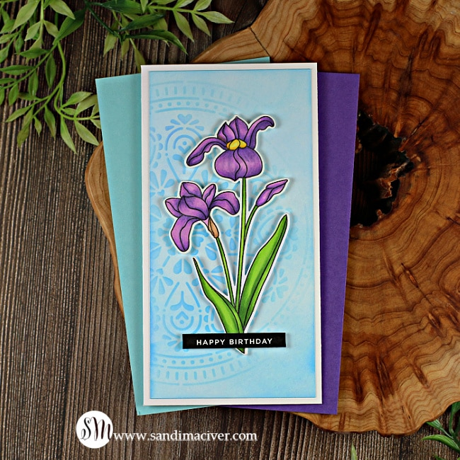 handmade mini slimline card with an iris image made with the Sketch Iris stamp from Simon Says Stamp