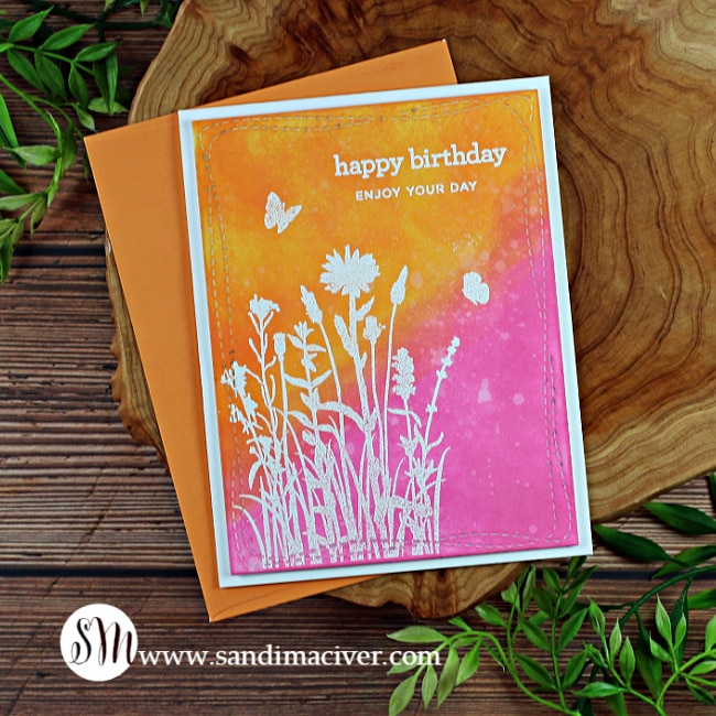 hand made greeting card with distress oxide Inks and stamps from Simon Says Stamp