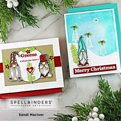 two handmade christmas cards with gnomes and trees using cardmaking supplies from Spellbinders