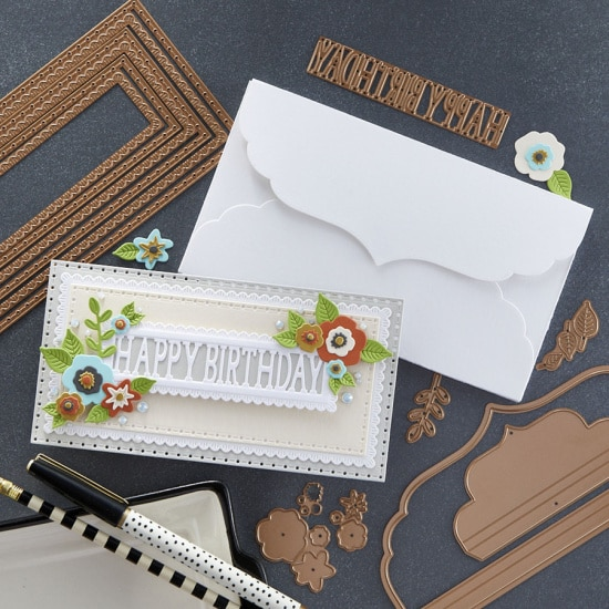 handmade mini slimline birthday card created with cardmaking supplies from the July Large Die of the Month club kit from Spellbinders