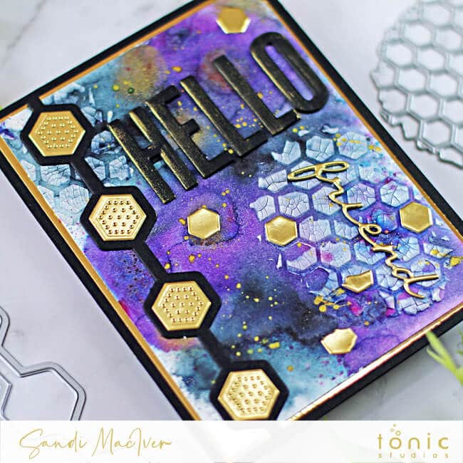 hand made mix media card created with new cardmaking products from Tonic Studios