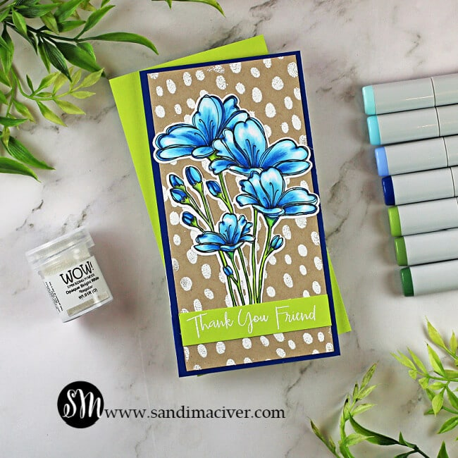handmade Bouquet of thanks Card with blue flowers and a white polka dot background with cardmaking supplies from Simon Says Stamp