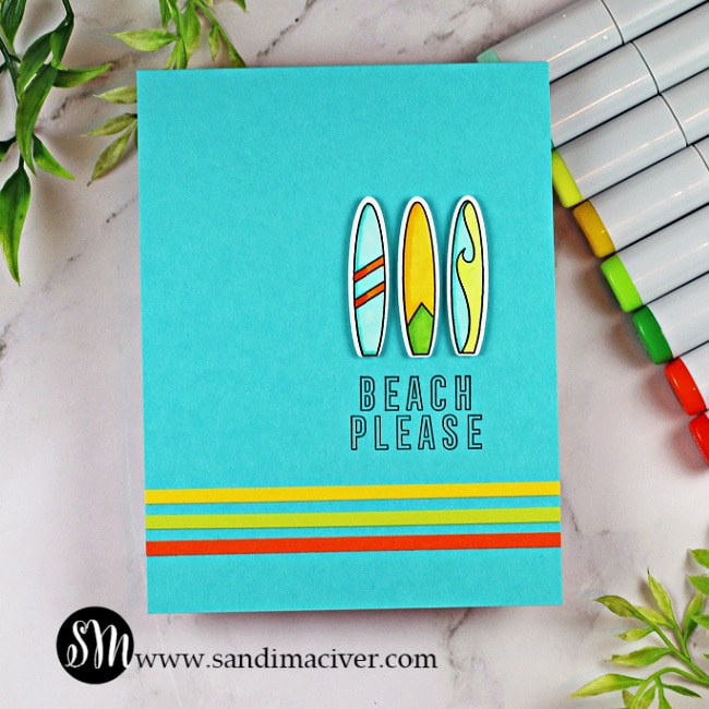 handmade turquoise card with surf boards on it using cardmaking supplies from Ellen Hutson
