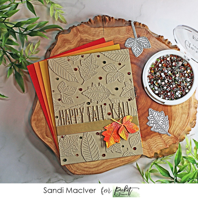 fall themed hand made card with a leaf die cut background and watercolor leaf overlay using paper crafting products from Picket Fence Studios