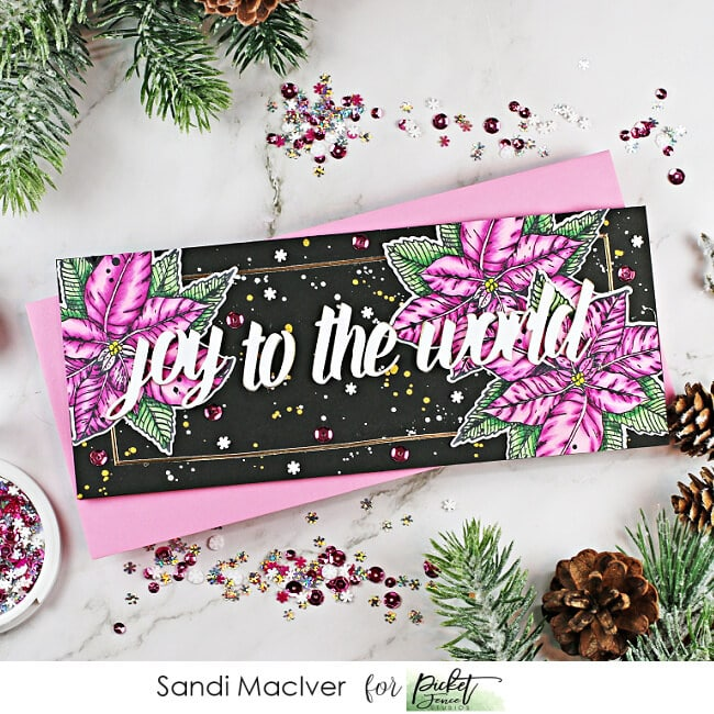 handmade slimline card with Pink Poinsettias on a black background using new cardmaking products from Picket Fence Studios