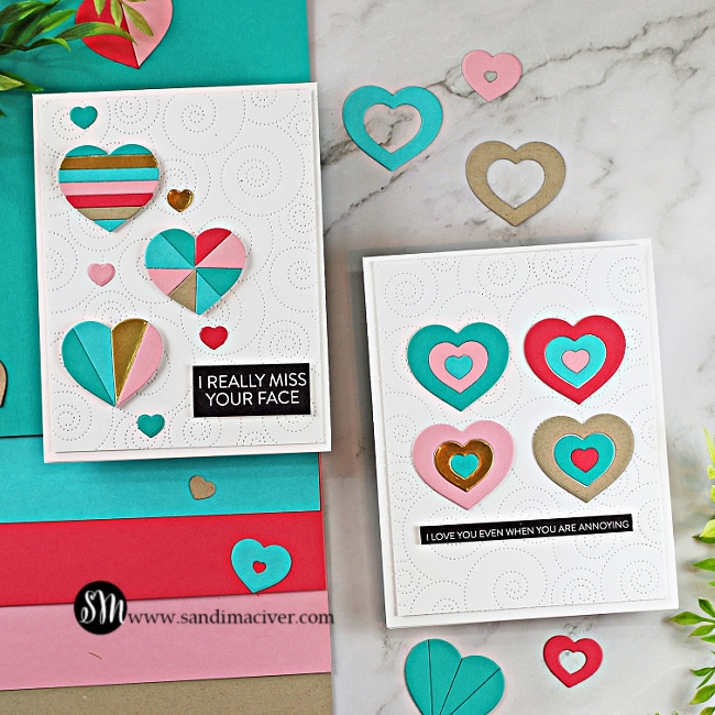 two handmade cards created with the Geometric Builders Heart Die set from Simon Says Stamp