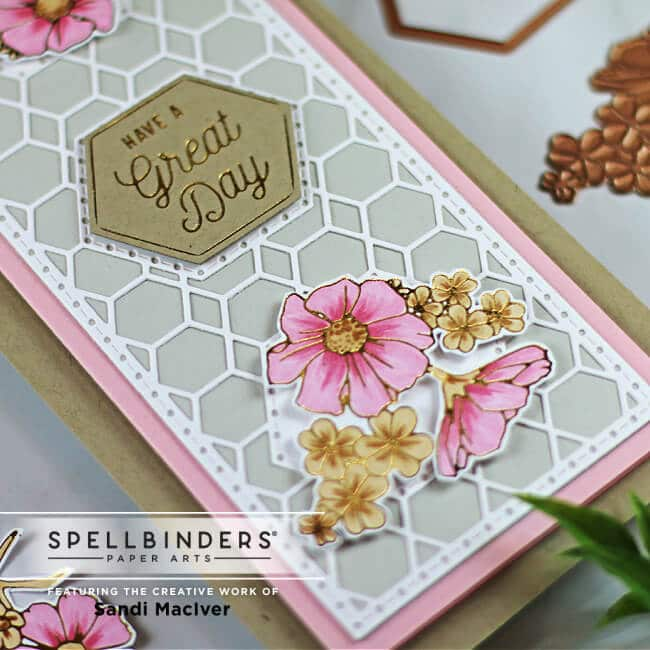 handmade floral slimline card created with cardmaking and die cutting kits from Spellbindes