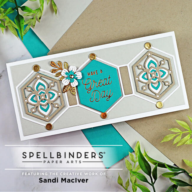 blue and brown handmade mini slimline card created with new cardmaking dies from Spellbinders
