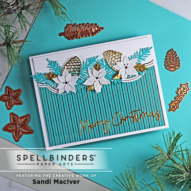 blue white and gold handmade christmas card using paper crafting dies from Spellbinders