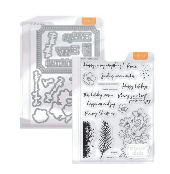 Christmas Rose stamp and die set for cardmaking and paper crafting from Tonic Studios