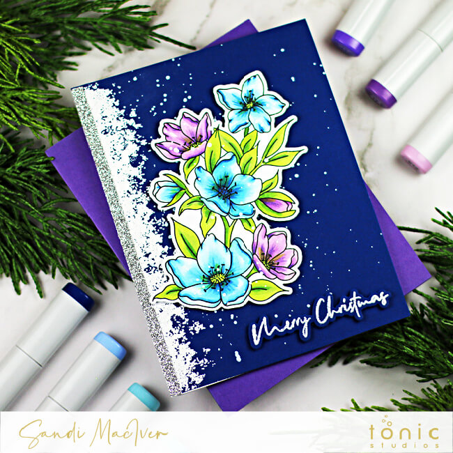 Navy hand made card with blue and purple colored flowers on the front created with paper crafting supplies from Tonic Studiosr