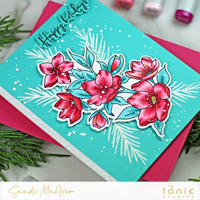 hand made blue christmas card with pink colored flowers created with new paper crafting products from Tonic Studios
