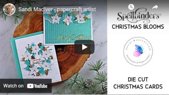 paper crafting video showing two die cut christmas cards with products from Spellbinders