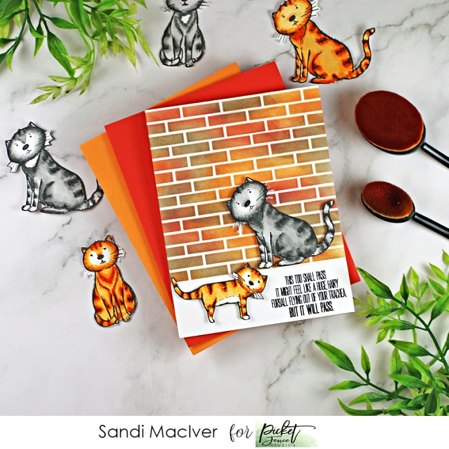 hand made card with a distress oxide ink blended background and copic colored kitties using new paper crafting products from Simon Says Stamp