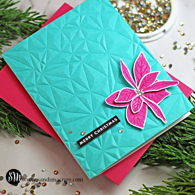 blue and pink handmade christmas card with new paper crafting products from Simon Says Stamp Stamptember release