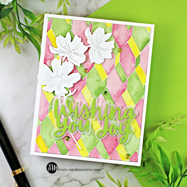 handmade card with a watercolored background and die cut flowers and sentiment created with new paper crafting products from Simon Says Stamp