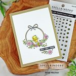 handmade card with a wreath and little yellow bird using cardmaking and paper crafting supplies from Spellbinders