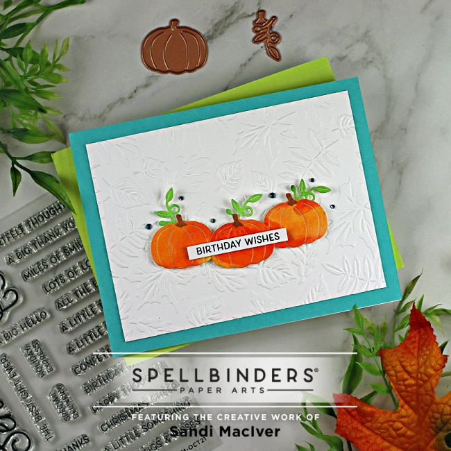 handmade fall card with three watercolored pumpkins using paper crafting supplies from Spellbinders