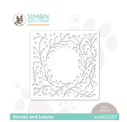Berry and leaves stencil used for card making and paper crafting from Simon Says Stamp