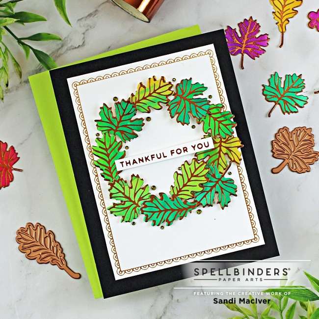 handmade fall card with leaves forming a wreath using new card making and paper crafting products from Spellbinders