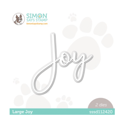 Joy word die cut used for card making and paper crafting from Simon Says Stamp