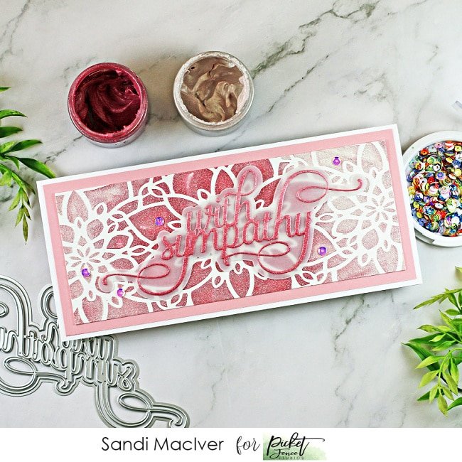 pink and white slimline sympathy card created with cardmaking products from Picket Fence Studios