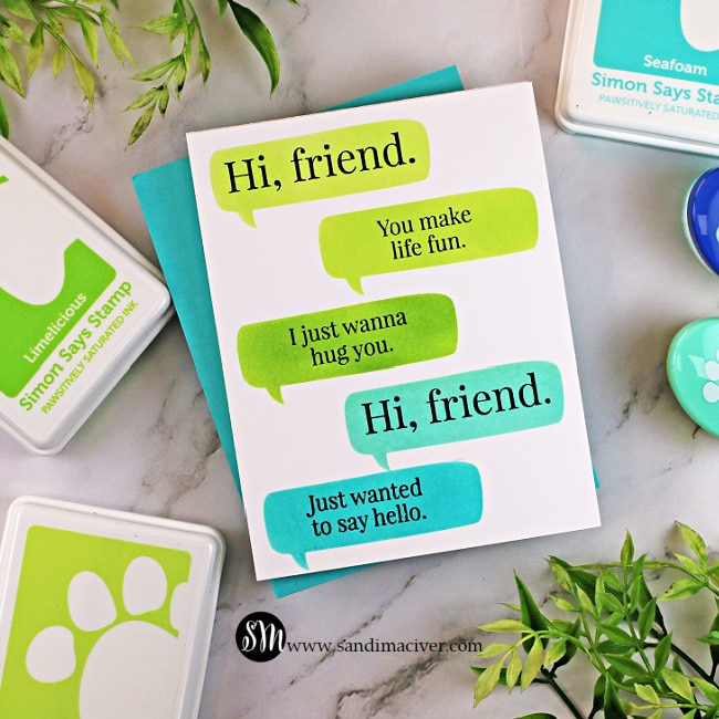handmade greeting card with word bubbles and friend sentiments using new paper crafting products from SImon Says STamp