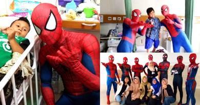 Spiderman Kembar 7 Kunjungi Pasien Anak-anak di RSCM