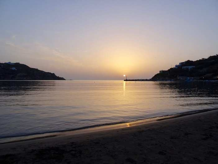 Sunset in Kini, Syros, Greece