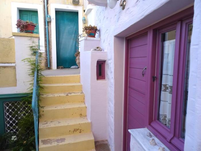 Colorful homes in Ano Syros, Greece