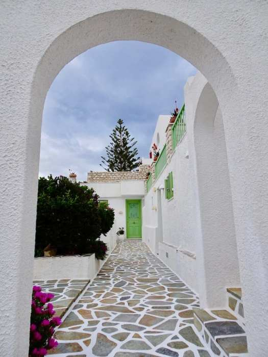 Paros home with green doors