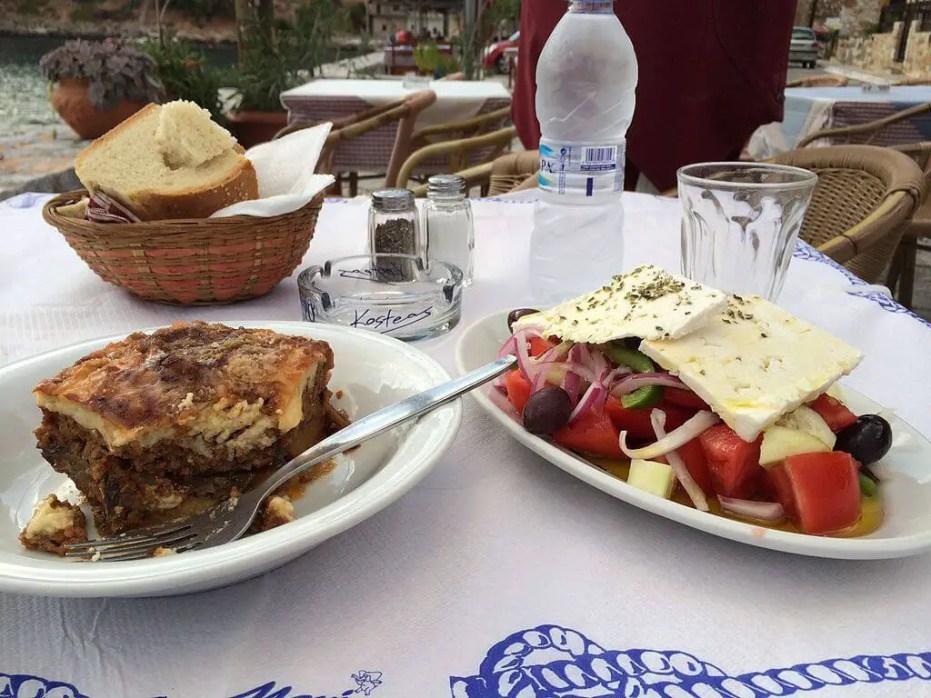 Greek food-moussaka and Greek salad