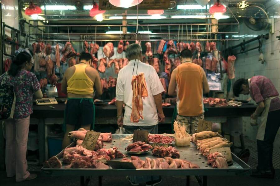 Raw meat at market-starting a new life abroad