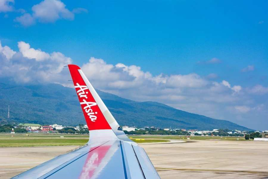Wing of Air Asia plane